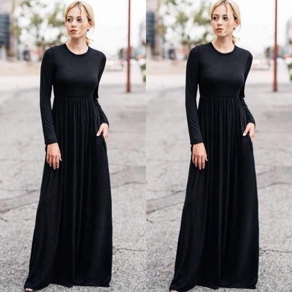 Dresses & Skirts - Black maxi long sleeve high waist casual dress